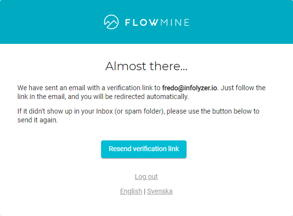 Email verification info screen