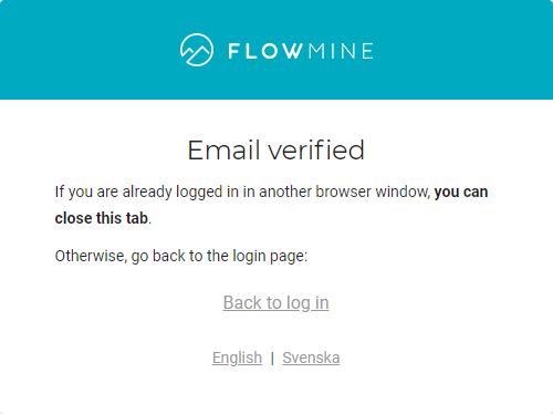Email verified info screen